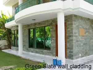 Green slate wall cladding